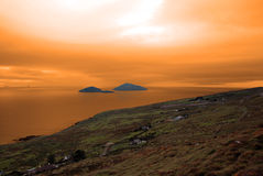 Scarriff island view with red sky Royalty Free Stock Photography