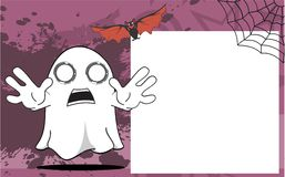 Scarry Ghost halloween cartoon expressions frame background Stock Image