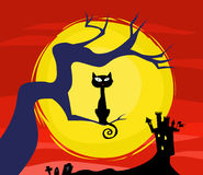 Scary Halloween Cat and Moon. Halloween theme with full moon, black cat and castle Stock Photo