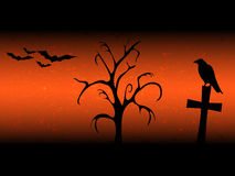 Scarry halloween background with sillhouette old tree, cross, raven and bats orange Royalty Free Stock Photos