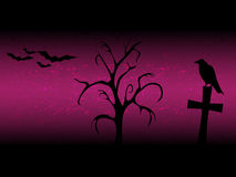 Scarry halloween background with sillhouette old tree, cross, raven and bats purple Royalty Free Stock Photo