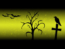 Scarry halloween background with sillhouette old tree, cross, raven and bats Stock Photo