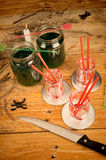 Scarry  Halloween drink. Scary green Halloween drink, a kid party setup Stock Images