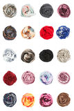 Scarves. Collards of silk scarves folded rosettes Stock Photos