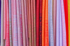 Scarves color. Scarves and shawls in various colors Stock Images