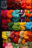 Scarves display. Colorful display with bunch of wrapped scarves Royalty Free Stock Photo