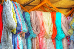 Scarves in an external stall Royalty Free Stock Photography