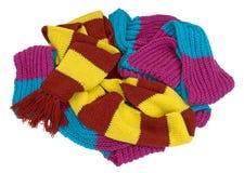 scarves feitos malha colocados em um grupo Fotos de Stock Royalty Free