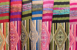 Scarves with Hmong ethnical patterns, Sapa, Vietnam. Scarves with Hmong ethnical patterns. Hmongs are an ethnic group from the mountainous regions of China Stock Photos