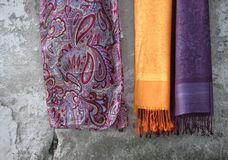 Scarves in Istanbul. Orange and Purple Scarves on the streets of Istanbul, Turkey Royalty Free Stock Images
