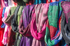 Scarves on a market stall Royalty Free Stock Image