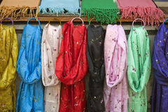 Scarves in a market Stock Images