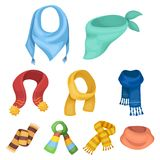 Scarves related icon set. Beautiful woolen, silk-colored warm scarves of shawls. scarves and shawles icon in set collection on cartoon style vector symbol stock Stock Photos