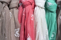 Scarves for sale. Royalty Free Stock Photography