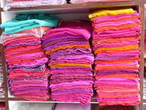 Scarves for sale, Narlai. A clothes shop in the small town of Narlai, Rajasthan Royalty Free Stock Photos
