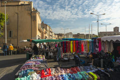Scarves Scarves Scarves Sunday market La Ciotat stock photo