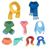 scarves and shawles icon in set collection on cartoon style Royalty Free Stock Photography
