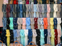 Scarves on a store window Royalty Free Stock Photography