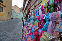 Scarves in the Street Shop stock image