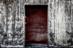 Scary abandoned building with blood wall and ghost hand coming o Royalty Free Stock Images