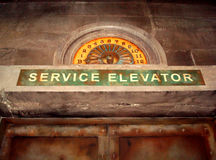 Scary Abandoned Service Elevator stock images