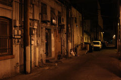 Scary alley at night Royalty Free Stock Photo