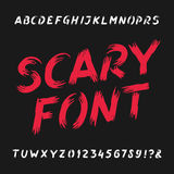Scary alphabet font. Dirty letters, numbers and symbols. Hand drawn vector typography for your design Stock Photos