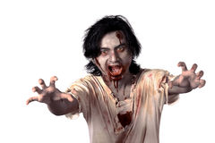 Scary asian male zombie. Isolated over white background Stock Photos