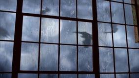 Scary Bat filled Sky Outside Old Factory Window 4K Loop