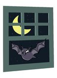 Scary bat in window Stock Photo