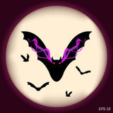 Scary bats on a background of the full moon. Vector illustration Stock Photo