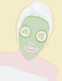 Scary beauty mask treatment. Vector woman taking scary beauty mask treatment Royalty Free Stock Photos