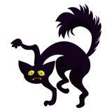Scary black cat icon, cartoon style royalty free illustration