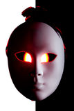 Scary black and white mask with red eyes Royalty Free Stock Photography