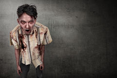 Scary and bloody asian zombie man Royalty Free Stock Image