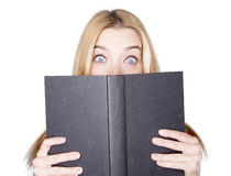 Scary book. Reading a very scary book Stock Image