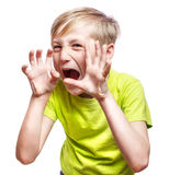 Scary boy on white Stock Photography
