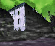 Scary Building Green Background Stock Images