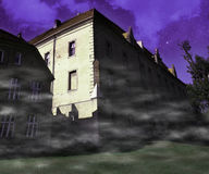 Scary Building Violet Background Stock Photos