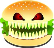 Scary burger. A scary burger is opening it's mouth to show off it's teeth Royalty Free Stock Photography