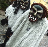 Scary Carnival People. The final days of the carnival, which take place in the small village of Büsingen, Germany/Switzerland. Date of the event: February 25 Stock Image