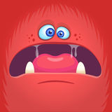 Scary cartoon angry monster face avatar. Halloween vector illustration of monster mask. . Royalty Free Stock Photo