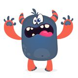 Scary cartoon black monster screaming. Yelling angry monster expression. Big collection of cute monsters for Halloween. Vector illustration Royalty Free Stock Image