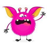 Scary cartoon pink monster. Vector illustration of  monster character for Halloween party. Scary cartoon pink monster. Vector illustration of  monster character Royalty Free Stock Photos