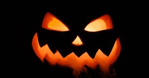 Scary carved halloween pumpkin in hot burning hell fire flames. The big helloween pumpkin has a mad face with glowing. Shining Jack-O-Lantern. Halloween pumpkin stock video