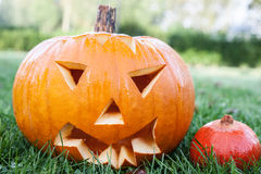 Scary carved pumpkin Royalty Free Stock Image