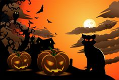 Scary cat on halloween wallpaper with carved pumpkins. Illustration of scary cat on halloween wallpaper with carved pumpkins theme background vector illustration