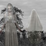 Scary cemetery with ghost Stock Photos
