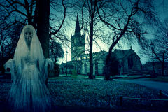 Scary Church Graveyard with Ghost Royalty Free Stock Image
