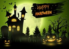 Scary church with pumpkins on the full moon royalty free illustration